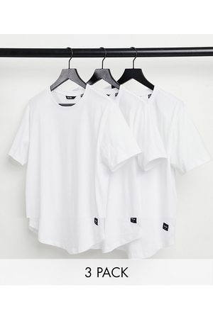 Only & Sons 3-pack longline curved hem T-shirt in white