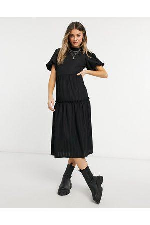 Miss Selfridge Tiered midi dress in black
