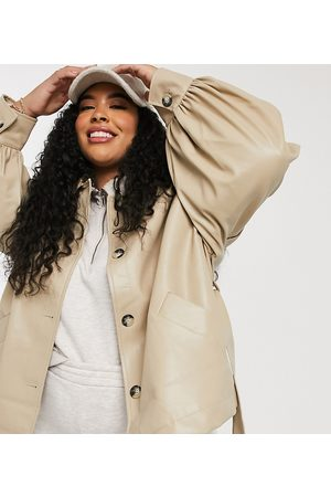 ASOS Curve faux-leather jacket with sleeve drama in putty-Cream