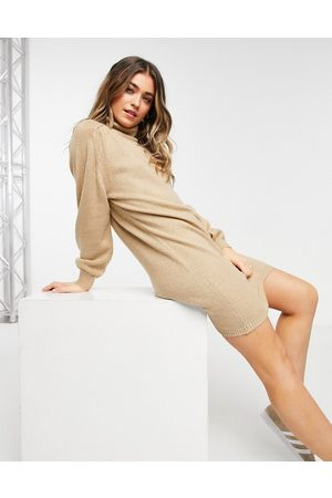 JDY Knitted dress with roll neck in beige