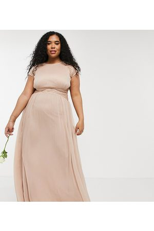 ASOS ASOS DESIGN Curve Bridesmaid ruched bodice maxi dress with cap sleeve detail-Pink