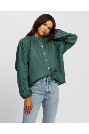 AERE Women Blouses - High Neck Linen Blouse - Tops (Botanical ) High Neck Linen Blouse