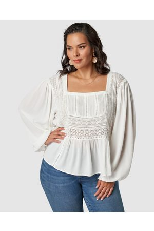 The Poetic Gypsy Moonbeam Lace Detail Blouse - Tops Moonbeam Lace Detail Blouse