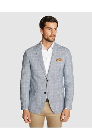 Tarocash Men Blazers - Prato Check Linen Blazer - Blazers Prato Check Linen Blazer