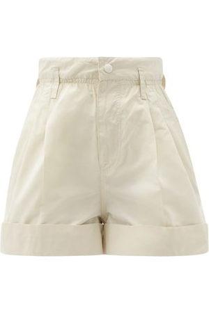 Moncler High-rise Faille Shorts - Womens - Cream