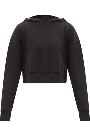 Moncler Logo-print Cotton-blend Cropped Hooded Sweatshirt - Womens