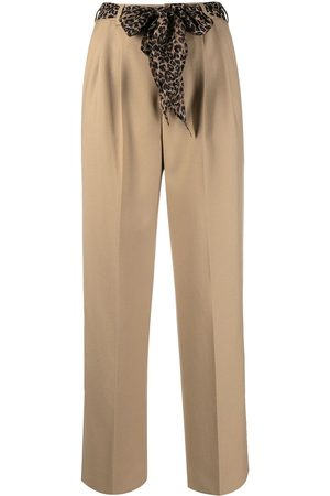 Saint Laurent Women Silk belt pleated trousers
