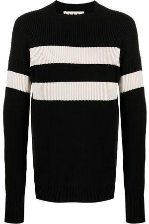 Marni Men Sweaters - Contrast-stripe rib-knit jumper