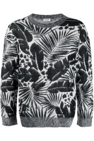 Saint Laurent Foliage-pattern crew neck jumper