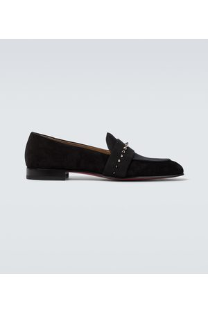Christian Louboutin Nit Night suede and twill loafers
