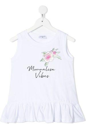 Monnalisa Floral slogan print tank top