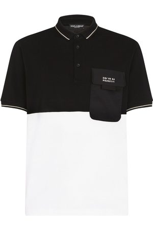 Dolce & Gabbana Logo-patch two-tone polo shirt