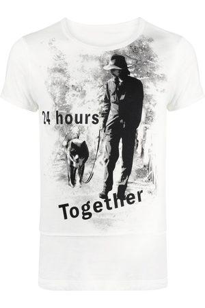 YOHJI YAMAMOTO Men Short Sleeve - Slogan-print cotton T-shirt