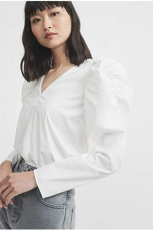 Witchery Cotton Puff Sleeve Blouse