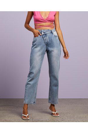 Dazie Love Goes Asymmetric Jeans - High-Waisted (Light Wash) Love Goes Asymmetric Jeans