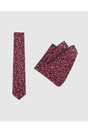 Buckle Men Neckties - Jocelyn Proust Tie & Pocket Square Set - Ties ( /Navy) Jocelyn Proust - Tie & Pocket Square Set
