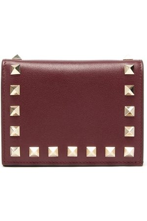 VALENTINO GARAVANI Rockstud Leather Wallet - Womens - Burgundy