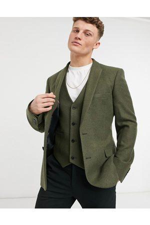 ASOS DESIGN Skinny wool mix suit jacket in khaki twill-Green