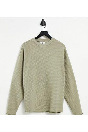 Collusion Unisex oversized sweatshirt in honeycomb waffle fabric co-ord-Stone