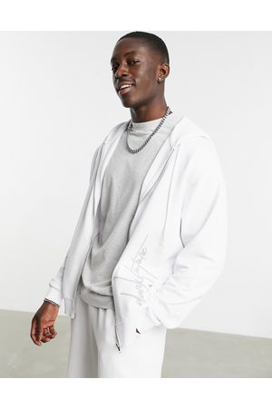 ASOS Oversized zip-through hoodie in white with embroidery
