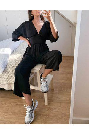 ASOS DESIGN Kimono sleeve culotte jumpsuit in black