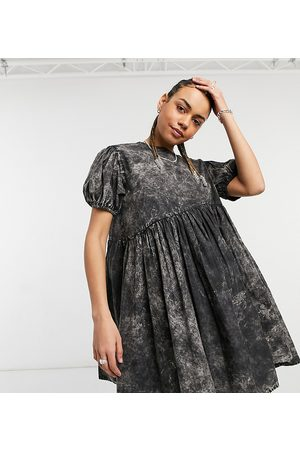 COLLUSION Asymmetric waist mini smock dress in washed black-Multi