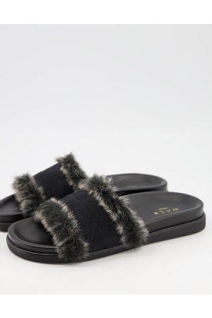 WALK LONDON Knightsbridge faux fur lined slider slippers in black