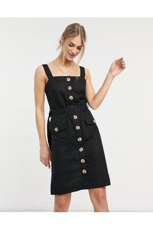 Accessorize Button up beach dress in black-Cream