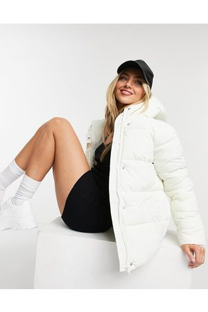 Monki Rino recycled drawstring padded jacket with hood in off white