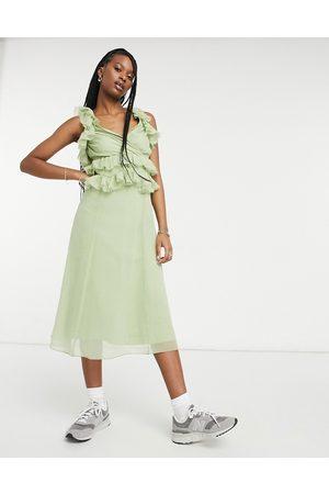 ASOS Women Midi Dresses - Tiered ruffle midi dress with tie back in sage-Multi