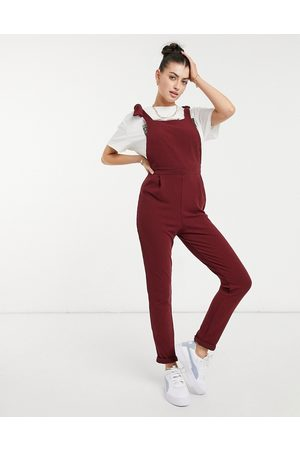 ASOS Rib overalls in burgundy-Red