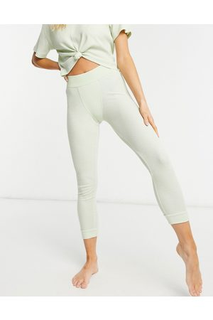 ASOS Mix and match waffle cuffed pyjama legging with elastic waistband in washed lime-Multi