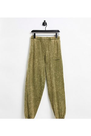 COLLUSION Unisex oversized trackies in khaki stone wash co-ord-Green