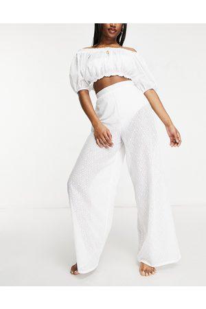 Fashion Union Women Wide Leg Pants - Exclusive wide leg high waist beach pants in white lace