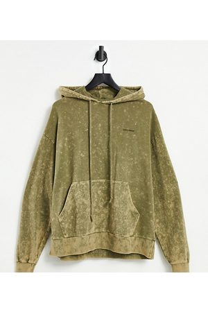 COLLUSION Unisex oversized hoodie in khaki stone wash co-ord-Green