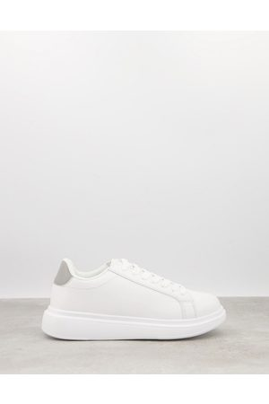 Brave Soul Chunky sole sneakers in white with contrast grey