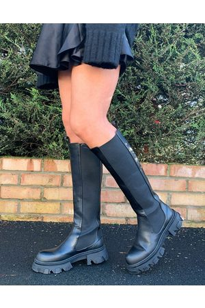 Public Desire Monique chunky knee boots in black