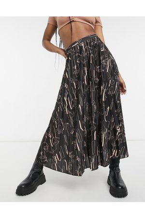 ASOS Jersey pleated midi skirt in abstract print-Multi