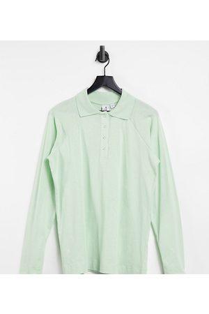 COLLUSION Polo Shirts - Raglan sleeve polo top in green