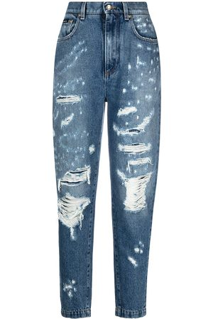 Dolce & Gabbana Women Tapered - Ripped tapered jeans