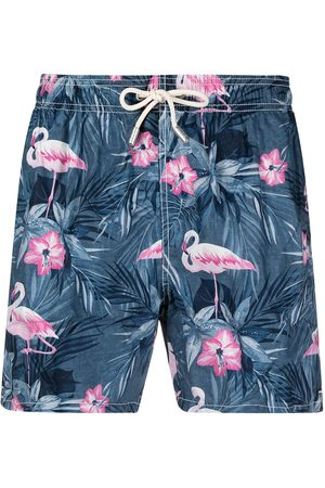 Mc2 Saint Barth Men Board Shorts - Flamingo-print elasticated-waist swim shorts