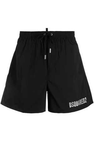 Dsquared2 Men Board Shorts - Icon metallic-logo drawstring swim shorts