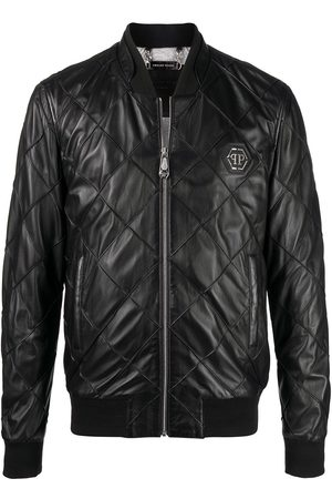 Philipp Plein Men Winter Jackets - Quilted leather bomber jacket