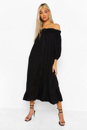 Boohoo Tall Bardot Button Ruffle Woven Midi Dress