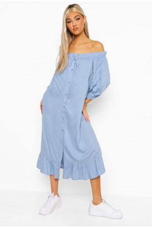 Boohoo Women Maxi Dresses - Tall Bardot Button Ruffle Woven Midi Dress