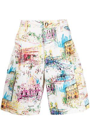 VALENTINO Men Bermudas - Roman sketches-print Bermuda shorts