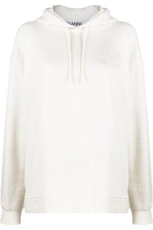 GANNI Logo-embroidered oversize hoodie