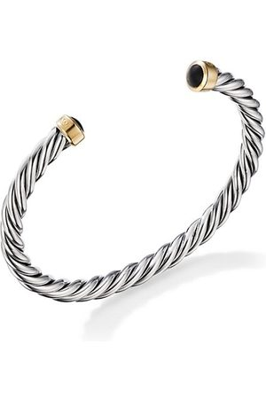 David Yurman Cable Bracelet In Sterling & 18-karat Yellow Gold with Onyx