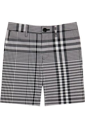 Burberry Kids Checked cotton poplin shorts