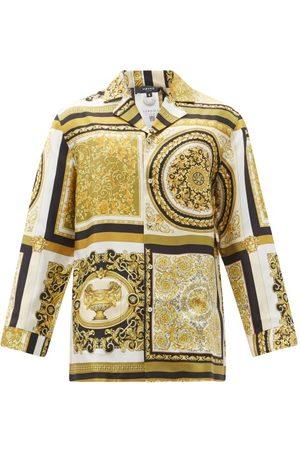 VERSACE Baroque-print Silk-satin Pyjama Shirt - Mens - Multi